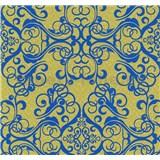 Vliesové tapety na stenu Caprice ornament modrý na zlatom podklade