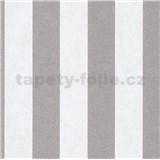 Vliesové tapety IMPOL Carat 2 pruhy strieborno-krémové