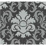 Vliesové tapety na stenu Carat zámocký vzor strieborný na čiernom podklade