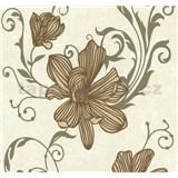 Vliesové tapety na stenu Carat kvety medené na svetlo hnedom podklade