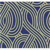 Vliesové tapety na stenu Carat moderný vzor svetle zlatý na modrom podklade