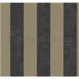 Vliesové tapety na stenu Carat pruhy bronzovo-čierne - POSLEDNÉ KUSY