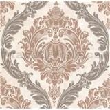 Luxusné vliesové tapety na stenu CARAT ornamentálny zámocký vzor hnedý s trblietkami