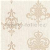 Vliesové tapety na stenu Classico ornament svetlo hnedý so strieborným leskom
