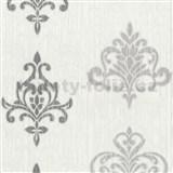 Vliesové tapety na stenu Classico ornament sivý so strieborným leskom