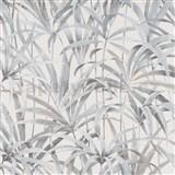 Vliesové tapety na stenu IMPOL Code Nature listy sivo-béžové na krémovom podklade