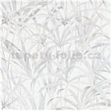 Vliesové tapety na stenu IMPOL Code Nature listy svetlo sivo-béžové na bielom podklade