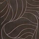 Vliesové tapety na stenu Colani Visions listy hnedo-zelené so striebornou kontúrou