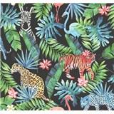 Vliesové tapety na stenu Collage džungla na čiernom podklade