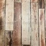 Vliesové tapety na stenu Collage drevená stena hnedá
