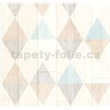 Vliesové tapety na stenu Collage retro drevené dosky svetle tyrkysovo-hnedé - POSLEDNÉ KUSY