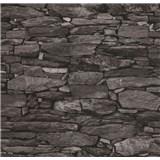 Vliesové tapety na stenu Collage kamená stena sivo-čierna