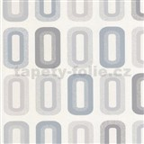 Vinylové tapety na stenu Collection retro oválky sivé, modré