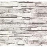 Vliesové tapety na stenu Collection drevený obklad sivý