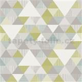 Vliesové tapety na stenu Collection geometrický vzor moderný zeleno-modrý