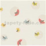 Vliesové tapety na stenu Collection farebné vtáčiky na krémovom podklade