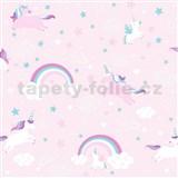 Papierové tapety na stenu Unicorn - jednorožec ružový