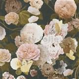 Vliesové tapety na stenu Paradise Garden kvety velké na čiernom podklade