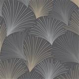 Vliesové tapety na stenu Collection lúčový vzor hnedo-sivý na čiernom podklade s trblietkami