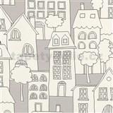 Detské vliesové tapety na stenu IMPOL Collection domčeky sivo-biele