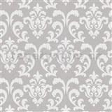 Vliesové tapety na stenu zámocký vzor strieborné na sivom podklade