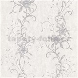 Vliesové tapety na stenu kvetinový vzor sivý so striebornými stonkami