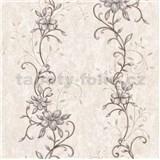 Vliesové tapety na stenu kvetinový vzor hnědý so zlatými stonkami
