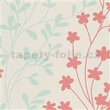 Vliesové tapety na stenu ružovo-zelené vetvičky na krémovom podklade