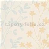 Vliesové tapety na stenu žlto-modré vetvičky na krémovom podklade