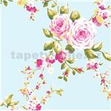 Papierové tapety na stenu Catherine Lansfield ruže na mentolovom podklade