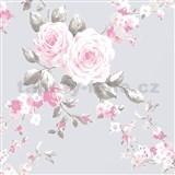 Papierové tapety na stenu Catherine Lansfield ruže na fialovom podklade
