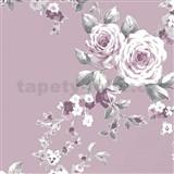 Papierové tapety na stenu Catherine Lansfield ruže na tmavo fialovom podklade