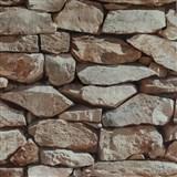 Vinylové tapety na stenu 3D kameň béžový