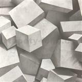 Vliesové tapety na stenu 3D kocky sivé