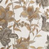 Vliesové tapety na stenu IMPOL Collection kvety bronzovo-strieborné