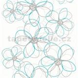 Vliesové tapety na stenu Collection kvetiny sivo -modré na bielom podklade