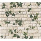 Papierové tapety na stenu biela tehla s brečtanom