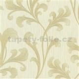Vliesové tapety na stenu Como - listy béžovo-zlaté