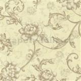 Vliesové tapety na stenu Como kvety ruže hnedé so zlatými trblietkami
