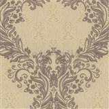 Vliesové tapety na stenu Como - barokový vzor hnedý so zlatými ornamentmi