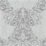 Vliesové tapety na stenu Como - barokový vzor sivý so striebornými ornamentami