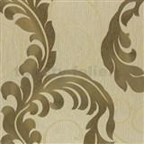 Luxusné tapety na stenu Da Milano - listy zlato-sivé na hnedom podklade