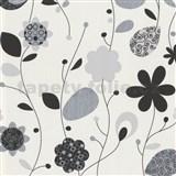 Tapety na stenu Delight - čierné design kvety - ZĽAVA
