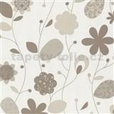 Tapety na stenu Delight - svetle hnedé design kvety
