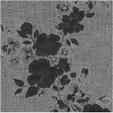 Luxusné vliesové tapety na stenu G.M.Kretschmer Deluxe kvety čierno-strieborné