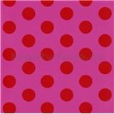 Tapety na stenu Die Maus bodky červené na ružovom podklade