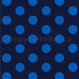 Tapety na stenu Die Maus bodky modré na tmavo modrom podklade - POSLEDNÉ KUSY