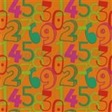 Tapety na stenu Die Maus farebné číslice na oranžovom podklade