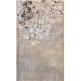 Vliesové fototapety betónová stena s listami rozmer 150 cm x 250 cm