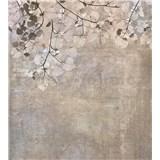 Vliesové fototapety betónová stena s listami rozmer 225 cm x 250 cm